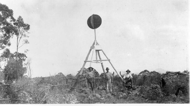 Captain Thomas Vance's party at a trig station in south-east Queensland