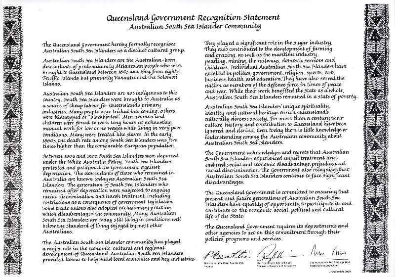 Australian South Sea Islander Recognition Statement QE12676